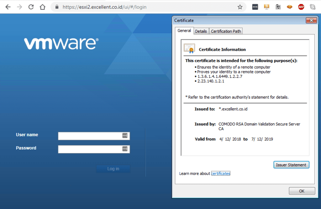 Instalasi SSL Certificate pada vSphere Host 6.7