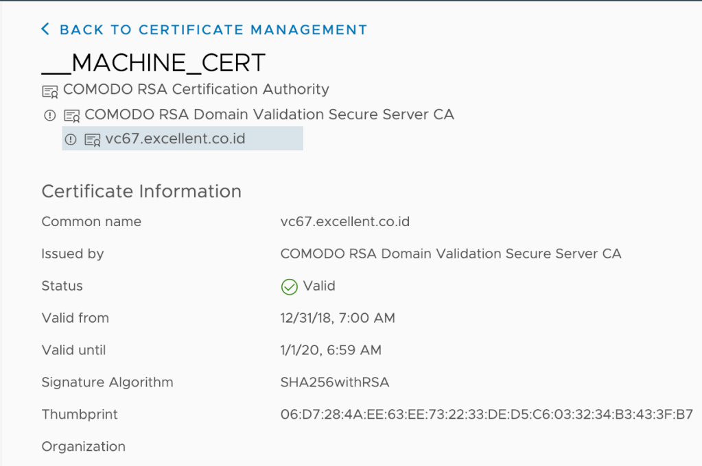 Instalasi Custom SSL Certificate pada vCenter Server 6.7